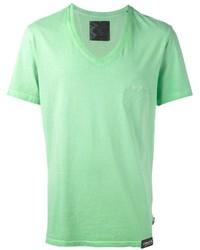 Camiseta con cuello en v en verde menta de Philipp Plein