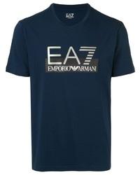 Camiseta con cuello en v estampada azul marino de Ea7 Emporio Armani