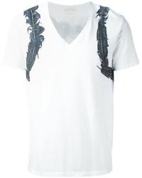Camiseta con cuello en v estampada blanca de Alexander McQueen