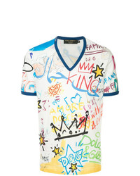 Camiseta con cuello en v estampada blanca de Dolce & Gabbana