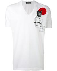 Camiseta con cuello en v estampada blanca de DSQUARED2