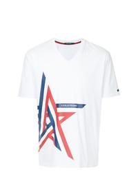 Camiseta con cuello en v estampada blanca de GUILD PRIME