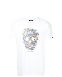 Camiseta con cuello en v estampada blanca de Loveless