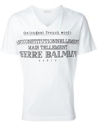 Camiseta con cuello en v estampada blanca de Pierre Balmain