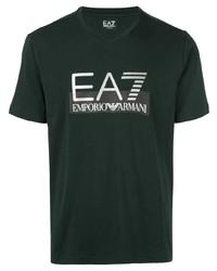 Camiseta con cuello en v estampada verde oscuro de Ea7 Emporio Armani