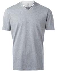 Camiseta con cuello en v gris de Brunello Cucinelli