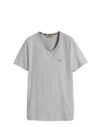 Camiseta con cuello en v gris de Burberry