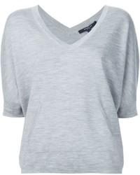 Camiseta con cuello en v gris de Derek Lam