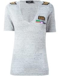 Camiseta con cuello en v gris de Dsquared2