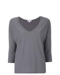 Camiseta con cuello en v gris de James Perse