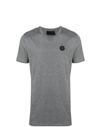 Camiseta con cuello en v gris de Philipp Plein