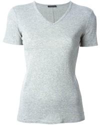 Camiseta con cuello en v gris de The Row