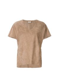 Camiseta con cuello en v marrón claro de Desa Collection