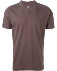 Camiseta con cuello en v marrón