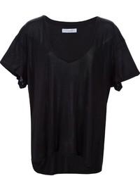 Camiseta con cuello en v negra de Anine Bing