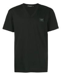 Camiseta con cuello en v negra de Dolce & Gabbana