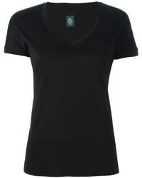 Camiseta con cuello en v negra de Eleventy