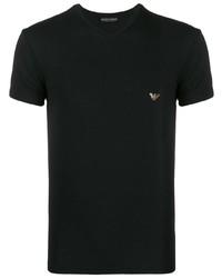 Camiseta con cuello en v negra de Emporio Armani