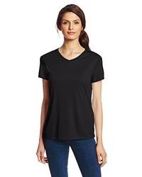 Camiseta con cuello en v negra de Hanes