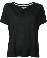 Camiseta con cuello en v negra de J Brand