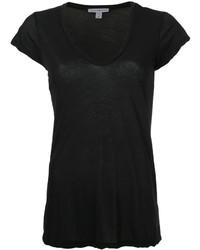 Camiseta con cuello en v negra de James Perse
