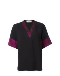 Camiseta con cuello en v negra de Lanvin