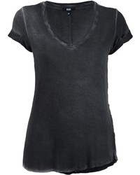 Camiseta con cuello en v negra de Paige