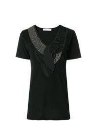 Camiseta con cuello en v negra de PIERRE BALMAIN