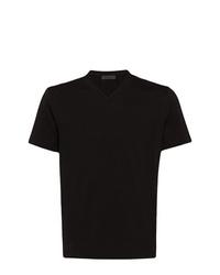 Camiseta con cuello en v negra de Prada