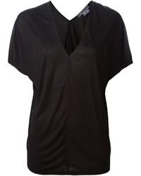 Camiseta con cuello en v negra de Vince