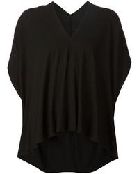 Camiseta con cuello en v negra de Zero Maria Cornejo