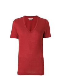 Camiseta con cuello en v roja de Isabel Marant Etoile