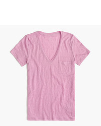 Camiseta con cuello en v rosada
