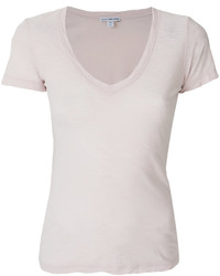 Camiseta con cuello en v rosada de James Perse