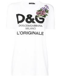 Camiseta de Flores Blanca de Dolce & Gabbana