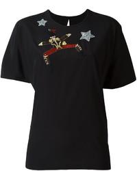 Camiseta de Lentejuelas Bordada Negra de Dolce & Gabbana