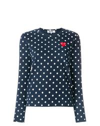 Camiseta de manga larga a lunares azul marino de Comme Des Garcons Play