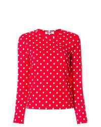 Camiseta de manga larga a lunares roja