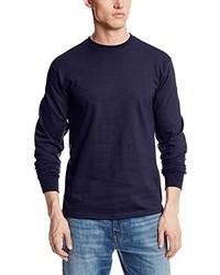 Camiseta de manga larga azul marino de MJ Soffe