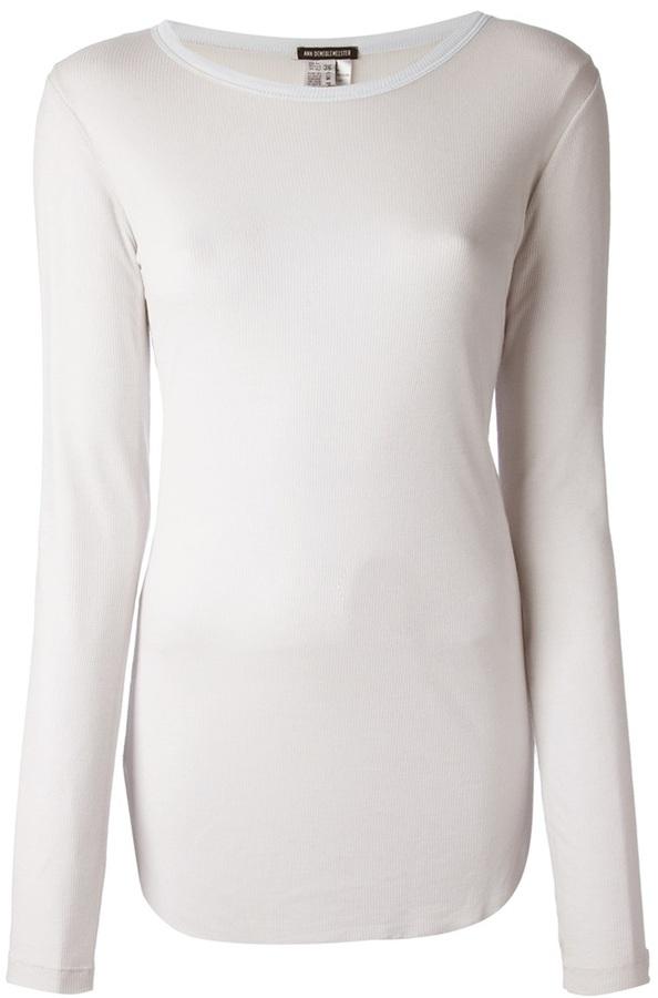 Camiseta de manga larga blanca de Ann Demeulemeester