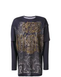 Camiseta de manga larga con adornos azul marino de Balmain