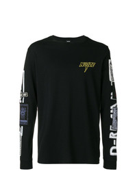 Camiseta de manga larga con adornos negra de Diesel