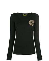 Camiseta de manga larga con adornos negra de Versace Jeans