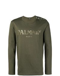 Camiseta de manga larga con adornos verde oliva de Balmain