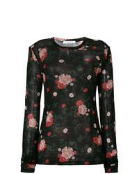 Camiseta de manga larga con print de flores negra de Vivetta