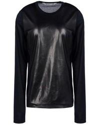 Camiseta de manga larga de cuero negra