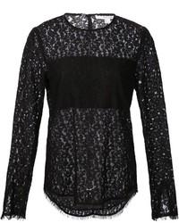 Camiseta de manga larga de encaje negra de Derek Lam 10 Crosby