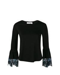 Camiseta de manga larga de encaje negra de See by Chloe