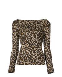 Camiseta de manga larga de leopardo marrón