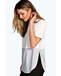 Camiseta de manga larga de malla blanca